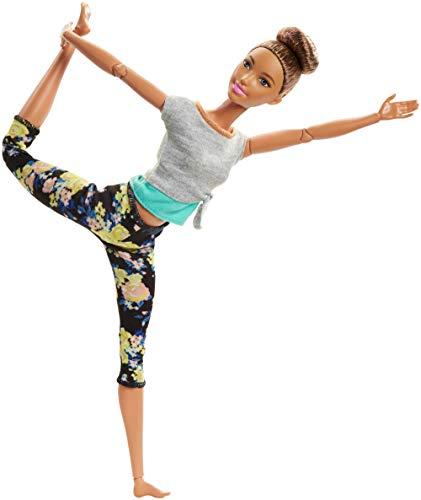 Barbie Fashionista Made to Move, Muñeca articulada castaña con top gris (Mattel FTG82) Multicolor