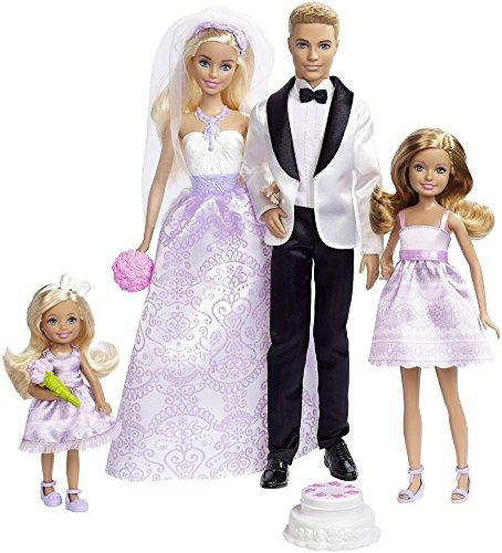Barbie Conjunto de Boda con muñecos novios, Stacie, Chelsea y accesorios (Mattel DRJ88) ,...