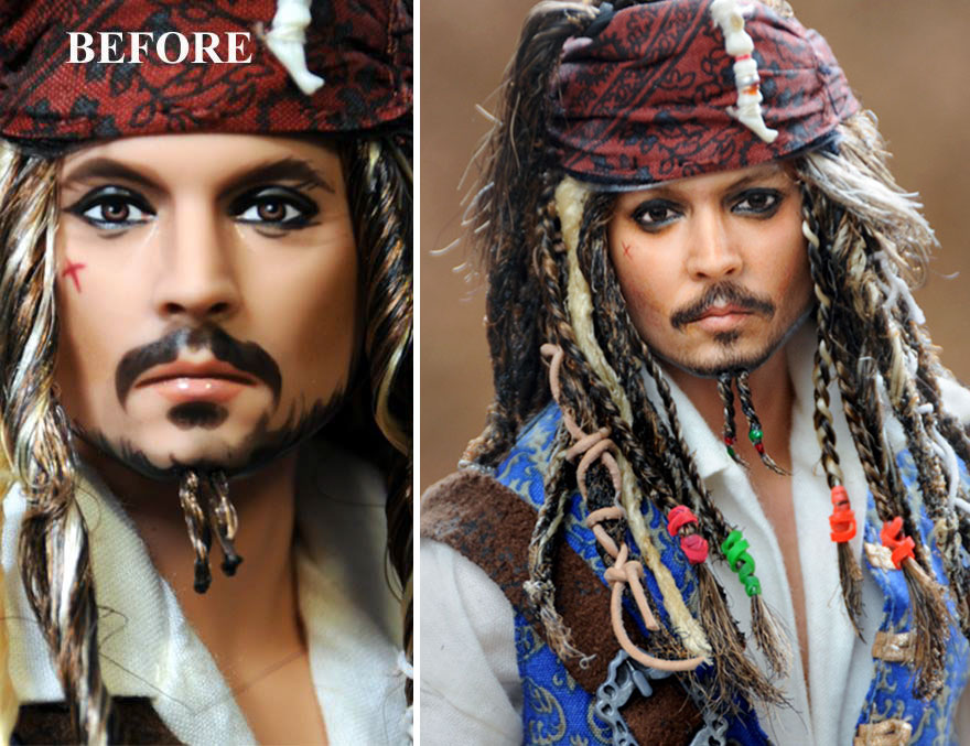 Muñeca del Capitán Jack Sparrow Pirates of the Caribbean Johnny Depp