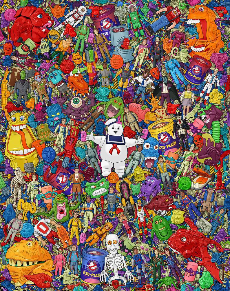 Muñecos de Cazafantasmas Ghostbusters póster